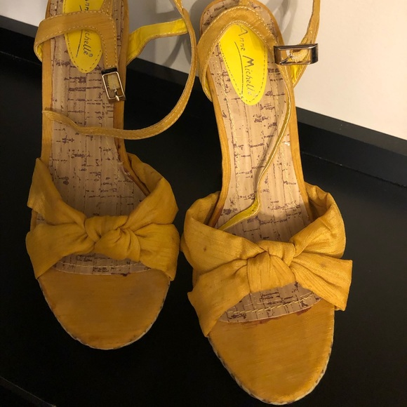 Anne Michelle Shoes - Yellow summer sandals 4 inch heel